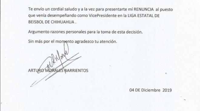Renuncia Arturo Morales